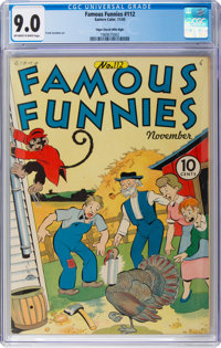 Famous Funnies #112 Mile High Pedigree (Eastern Color, 1943) CGC VF/NM 9.0 Off-white to white pages