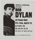 Music Memorabilia:Posters, Bob Dylan Previously Unknown 1963 Concert Handbill for First Major Show of His Career.. ...