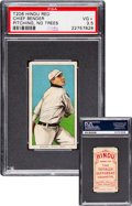 Baseball Cards:Singles (Pre-1930), 1909-11 T206 Hindu-Red Chief Bender (Pitching, No Trees) PSA VG+ 3.5 - The Finer of Just Two Confirmed! ...