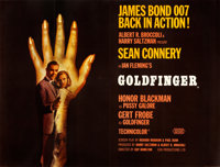 "Goldfinger (United Artists, 1964). Very Fine on Linen. British Quad (30"" X 40"") Style B"