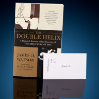"""DNA"" Sketch Signed by James Watson James Watson Signed Book The Double Helix </... (Total: 2)"