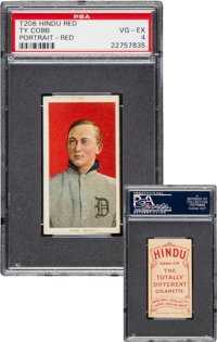 1909-11 T206 Hindu-Red Ty Cobb (Red Portrait) PSA VG-EX 4 - One of Only Six Known