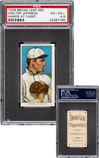 1909-11 T206 Broad Leaf 460 Walter Johnson (Hands At Chest) PSA VG-EX+ 4.5 - The Only PSA Graded Example!