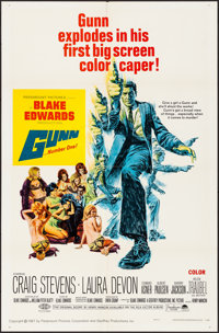 "Gunn & Other Lot (Paramount, 1967). Folded, Very Fine-. One Sheets (3) (27"" X 41""), Lobby Card Set of..."