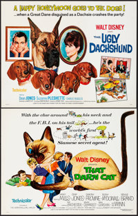 """That Darn Cat & Other Lot (Buena Vista, 1965). Rolled, Overall: Very Fine. Half Sheets (5) (22"""" X 28"""")..."""