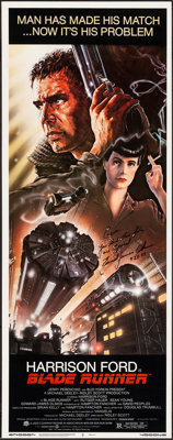 """Blade Runner (Warner Brothers, 1982). Rolled, Very Fine/Near Mint. Autographed Insert (14"""" X 36""""). John Alvin..."""