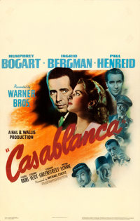 "Casablanca (Warner Brothers, 1942). Good+ on Cardstock. Window Card (13.75"" X 21.5"")"