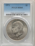 Eisenhower Dollars, 1971 $1 MS65 PCGS. PCGS Population: (1075/88). NGC Census: (767/44). CDN: $52 Whsle. Bid for problem-free NGC/PCGS MS65. Mi...