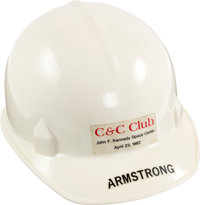 Neil Armstrong's Personalized NASA / C & C Club Hard Hat, April 23, 1982, Directly From The Armstrong Family Col...