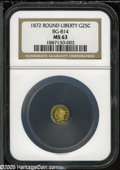 California Fractional Gold: , 1872 25C Liberty Round 25 Cents, BG-814, High R.5, MS63 NGC. ...