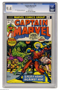 Captain Marvel #25 (Marvel, 1973) CGC NM 9.4 White pages. Thanos storyline begins. Jim Starlin cover and art. Overstreet...