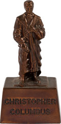 Explorers:Space Exploration, Neil Armstrong's Christopher Columbus Bronze Statue Paperweight Directly From The Armstrong Family Collection™, CAG Certified....