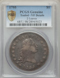 Early Dollars, 1795 $1 Flowing Hair, Two Leaves, B-1, BB-21, R.2 -- Tooled -- PCGS Genuine. VF Details....
