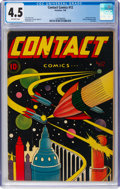Golden Age (1938-1955):Science Fiction, Contact Comics #12 (Aviation Press, 1946) CGC VG+ 4.5 Off-white pages....
