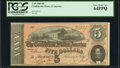 Confederate Notes:1864 Issues, T69 $5 1864 PF-10 Cr. 564 PCGS Very Choice New 64PPQ.. ...