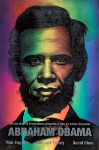 Ron English (b. 1959) Abraham Obama (Silver Lettering), 2009 Lenticular rainbow flip print with silkscreened silver le...