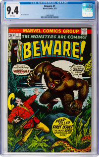 Beware #1 (Marvel, 1973) CGC NM 9.4 White pages
