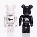Collectible:Contemporary, BE@RBRICK X Stüssy. Set of Black and White 100% Be@rbricks, 2002. Painted cast vinyl. 2-3/4 x 1-1/2 x 3/4 inches (7 x 3....