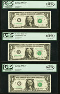 Fancy Serial Numbers 10082 Through 10087 Fr. 1933-F $1 2006 Federal Reserve Notes. PCGS Gem New 65PPQ-66PPQ. ... (Total:...