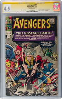 The Avengers #12 Signature Series: Stan Lee (Marvel, 1965) CGC VG+ 4.5 Off-white pages