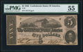 Confederate Notes:1862 Issues, T53 $5 1862 PF-13 Cr. 388 PMG About Uncirculated 55.. ...