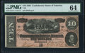 Confederate Notes:1864 Issues, T68 $10 1864 PF-21 Cr. 547 PMG Choice Uncirculated 64.. ...