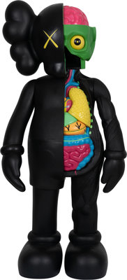 KAWS (American, b. 1974) 4FT Dissected Companion (Black) Fiber-reinforced plastic 50 x 20-1/2 x