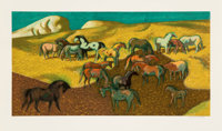 Millard Sheets (1907-1989) Brood Mare Pasture, c. 1977 Lithograph in colors on wove paper 22-3/4