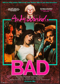 "Andy Warhol's Bad (Constantin-Flim, 1977). Very Fine+ on Linen. German A1 (23.5"" X 33""). Exploitation"