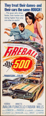 "Fireball 500 (American International, 1966). Rolled, Fine/Very Fine. Insert (14"" X 36""). Action"