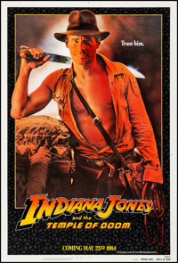 "Indiana Jones and the Temple of Doom (Paramount, 1984). Very Fine on Linen. One Sheet (27"" X 41"") Advance, &qu..."