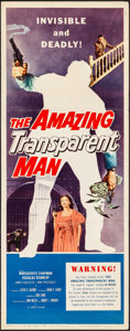 "Movie Posters:Science Fiction, The Amazing Transparent Man (Miller-Consolidated Pictures, 1959).Folded, Very Fine-. Insert (14"" X 36""). Science Fiction.. ..."