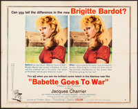 "Babette Goes to War (Columbia, 1960). Folded, Very Fine-. Half Sheet (22"" X 28"") Style B. Foreign"