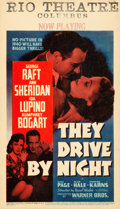 """Movie Posters:Drama, They Drive by Night (Warner Brothers, 1940). Very Fine/Near Mint on Cardstock. Linen Finish Midget Window Card (8"""" X 14"""").. ..."""