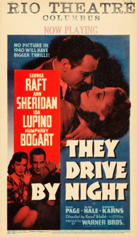 """They Drive by Night (Warner Brothers, 1940). Very Fine/Near Mint on Cardstock. Linen Finish Midget Window Card (8""""..."""