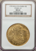 Colombia, Charles IV gold 8 Escudos 1791 NR-JJ MS62 NGC,...