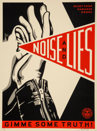 Shepard Fairey (b. 1970) Noise & Lies (Cream), 2018 Screenprint in colors on speckled cream paper