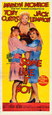 "Some Like It Hot (United Artists, 1959). Folded, Very Fine. Australian Daybill (13.5"" X 30"")"