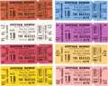 Music Memorabilia:Tickets, The Beatles Boston Suffolk Downs Set of Eight Tickets (Frank Connelly Productions, 1966). . ...