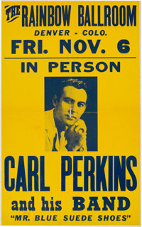"Carl Perkins ""Mr. Blue Suede Shoes"" 1959 Vintage Concert Poster"