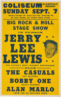 """Music Memorabilia:Posters, Jerry Lee Lewis 1958 Concert Poster """"Big Rock & Roll Stage Show."""". ..."""