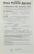 Music Memorabilia:Documents, The Beatles Related Cyril Preston Signed Cavern Club Contr...