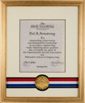 Explorers:Space Exploration, Neil Armstrong's 1990 Milwaukee School of Engineering / Experimental Aircraft Association Medal in Framed Display Dire...