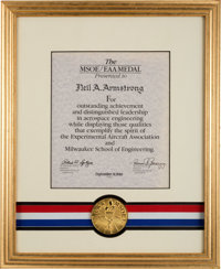 Neil Armstrong's 1990 Milwaukee School of Engineering / Experimental Aircraft Association Medal in Framed Display Dire...
