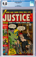 Golden Age (1938-1955):Crime, Justice Comics #33 (Atlas, 1953) CGC VF/NM 9.0 White pages....