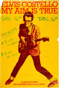 Music Memorabilia:Posters, Elvis Costello & Attractions Fully Autographed 1977 ConcertPoster.. ...