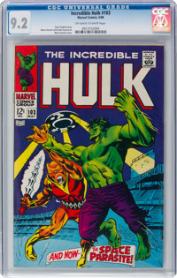 The Incredible Hulk #103 (Marvel, 1968) CGC NM- 9.2 Off-white to white pages