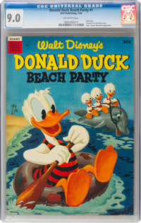Dell Giant Comics: Donald Duck Beach Party #1 (Dell, 1954) CGC VF/NM 9.0 Off-white pages