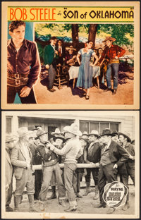 """Blue Steel & Other Lot (Lone Star, R-1940s). Very Fine-. Lobby Cards (2) (11"""" X 14""""). Western. ... (To..."""
