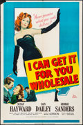 "Movie Posters:Drama, I Can Get It for You Wholesale (20th Century Fox, 1951). Folded,Very Fine-. One Sheet (27"" X 41""). Drama.. ..."